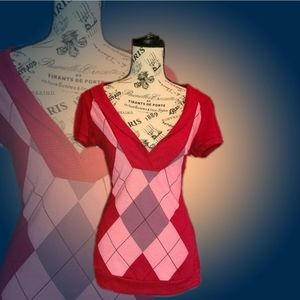 Red Short Sleeve Argyle Sweater